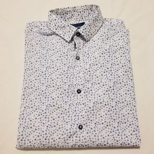 Zara Man Slim Fit Floral Shirt White with Blue XS